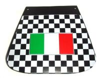 Italian Flag Mudflap - Black Chequered